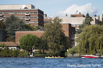 View of UW South Campus from across the Montlake Cut.