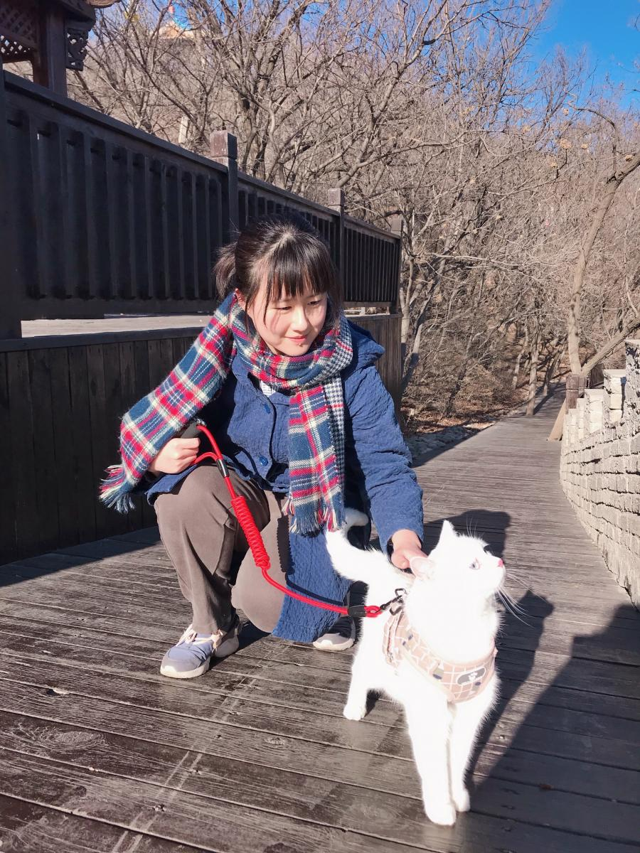 Shengruo kneels with a white cat on a leash