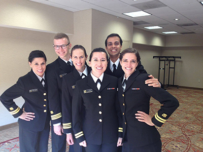 Mosites poses with her friends in uniform at the officer basic course.