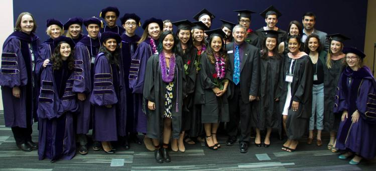 Graduates from 2018 with the Chair of the department, Stephen Hawes