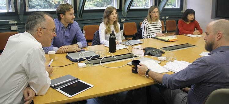 Department of Epidemiology students meet with researchers at the Radiation Effects Research Foundation to discuss research topics.