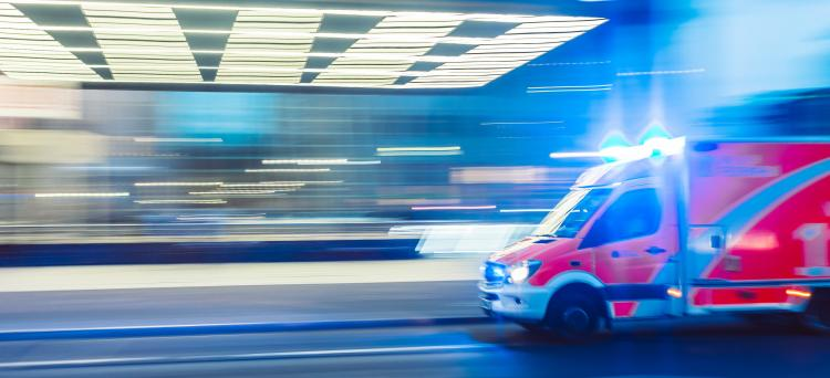 Ambulance in an emergency room entrance