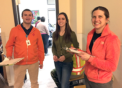 Emily Mosites at a Group A Strep testing event with colleagues.