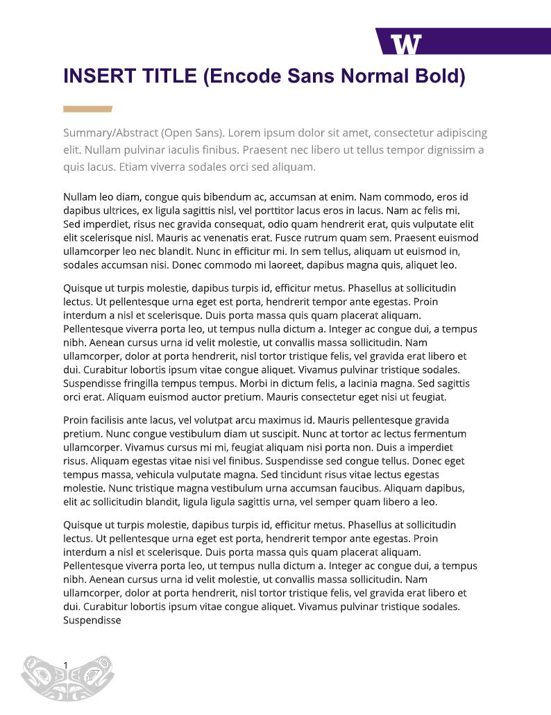 UW Epidemiology branded word document template