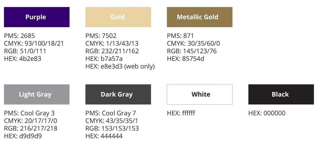 UW color palate, Purple (HEX 4b2e83), Gold (HEX (b7a57a), Metallic Gold (HEX 85754d), Light Gray (HEX d9d9d9), Dark Gray (HEX 444444), White (HEX ffffff), Black (HEX 000000)