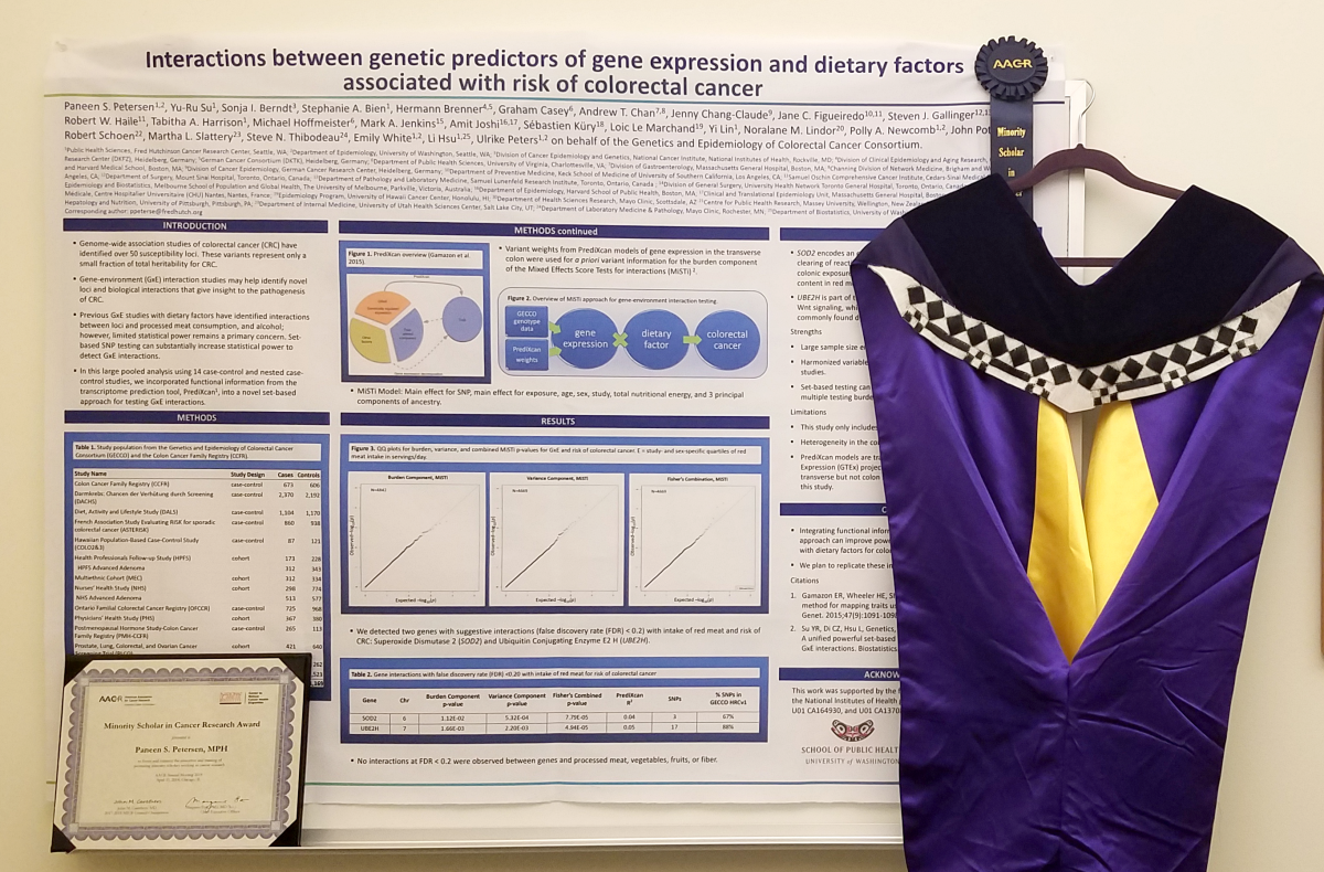 Paneen's poster from the American Association for Cancer Research (AACR) Annual Meeting 2018 where she received an AACR Minority Scholar in Cancer Research Award. Photo credit: Paneen Petersen