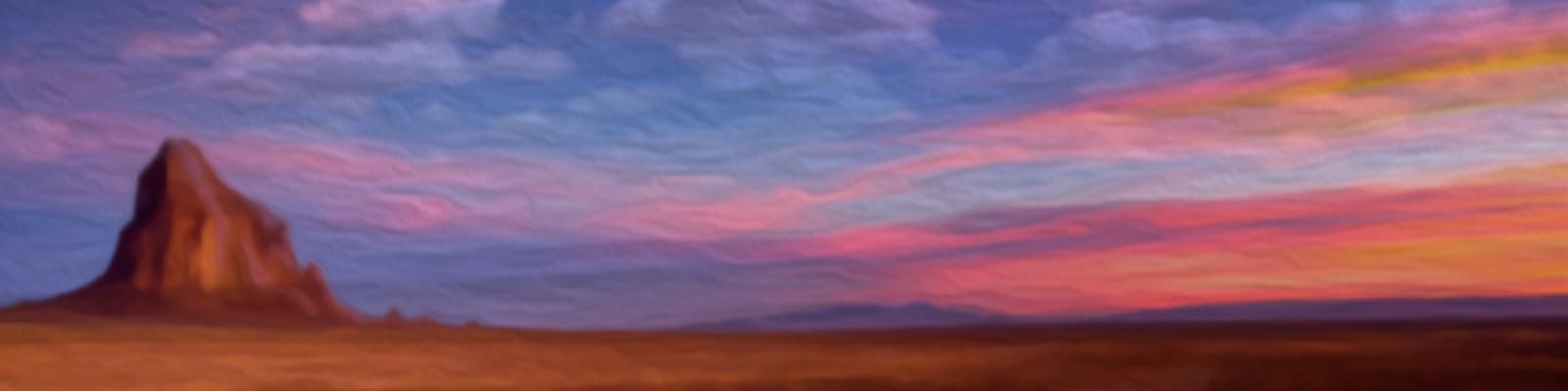 Desert sunset landscape illustration.