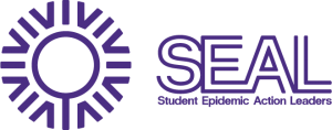 Logo for the SEAL Team: A round logo with a magnifying glass image in the center. Text reads SEAL Student Epidemic Action Leaders