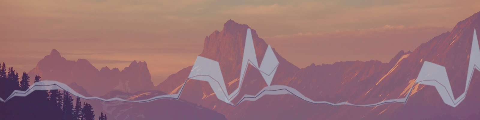 Cascade mountain range with graphic overlay